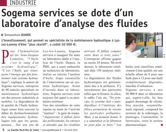 Sogema services se dote d'un laboratoire d'analyse des fluides