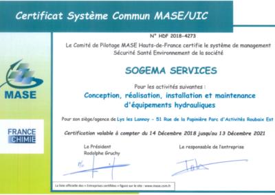 certification MASE UIC 2018